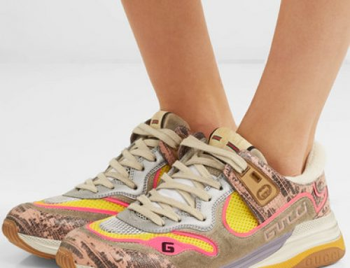 Gucci | Ultrapace distressed snake-effect leather, mesh and suede sneakers | NET-A-PORTER.COM